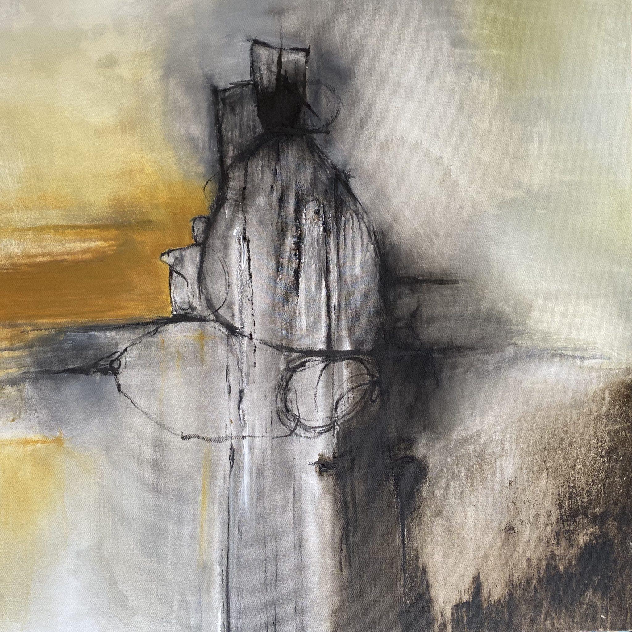 quadro astratto ocra nero giallo